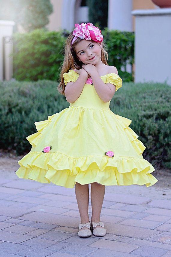 Niñas vestido de Belle por SoSoHippo en Etsy