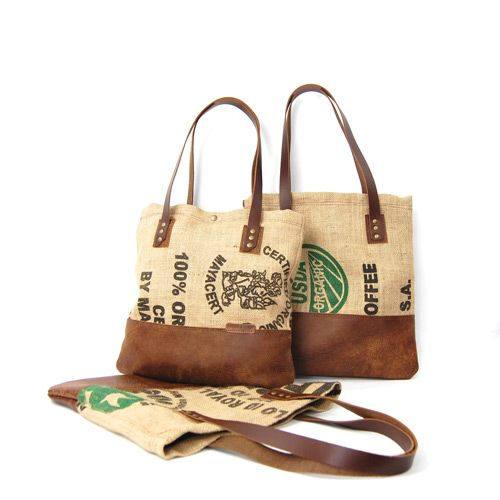 Stitch & Rivet's Leather & Burlap Coffee Totes are one-of-a-kind and made from reclaimed coffee bean bags. Each tote features a leather bottom & straps...