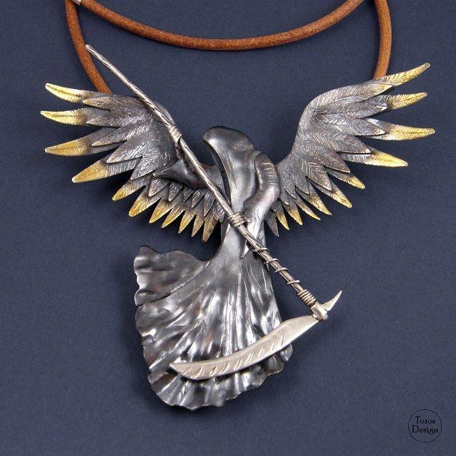 """""""Anioł śmierci"""". Srebrny wisior. """"Angel of death"""". Silver pendant."""