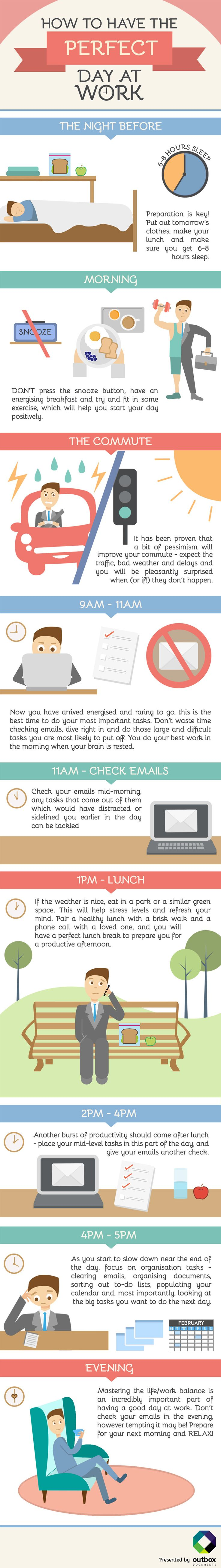How do your days at work go? Do you find it's always a rush in the morning? Do you never get round to completing your most important tasks due to checking emails? We have created the guide below to having the perfect day at work: