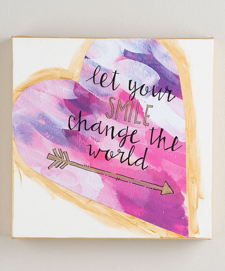 'Let Your Smile Change the World' Canvas #zulily $16.99