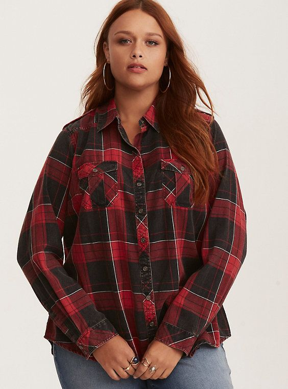 Taylor Red Black Plaid Cotton Camp Shirt Clothing Pinterest