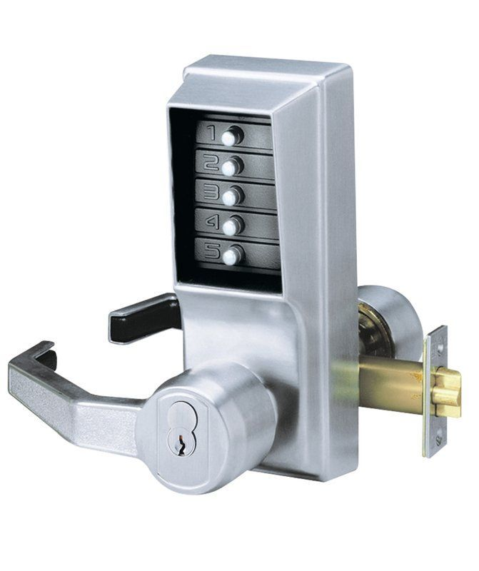 Kaba Ilco LP1010-LH Left Handed Mechanical Combination Exit Trim Lock with Lever Satin Chrome Leverset Keyless Entry Mechanical