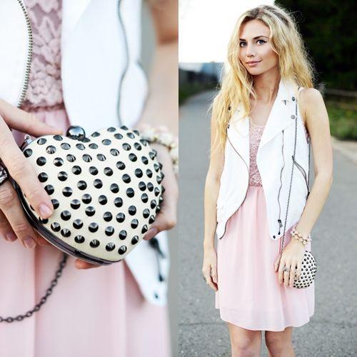 Studded Heart Clutch Bag