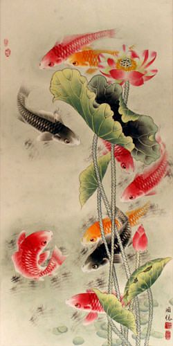 Koi Fish & Lotus Flower Painting - Chinese Wall Scroll close up view