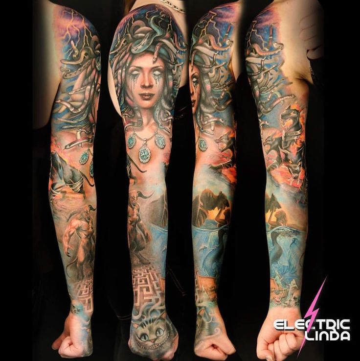 My Finally done Fullsleeve :D Greek Mytholgy Themed.. (except the cat ;P )