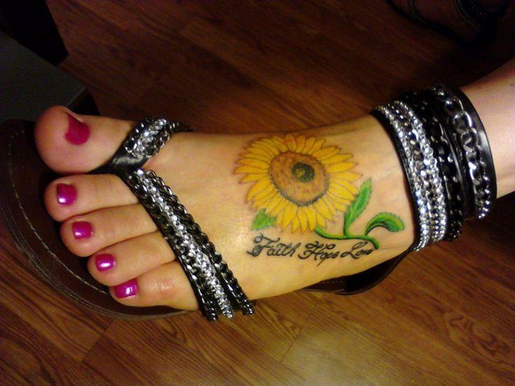 Sunflower Foot Tattoos