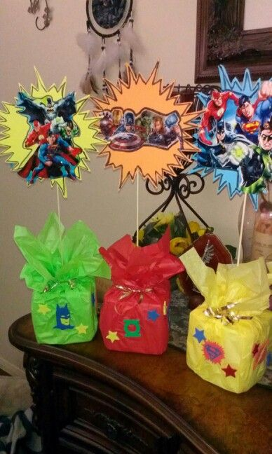 Superhero center pieces for my sons birthday party
