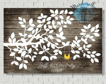 Wedding Guest Book Tree Print Alternative by MarshmallowInkLLC