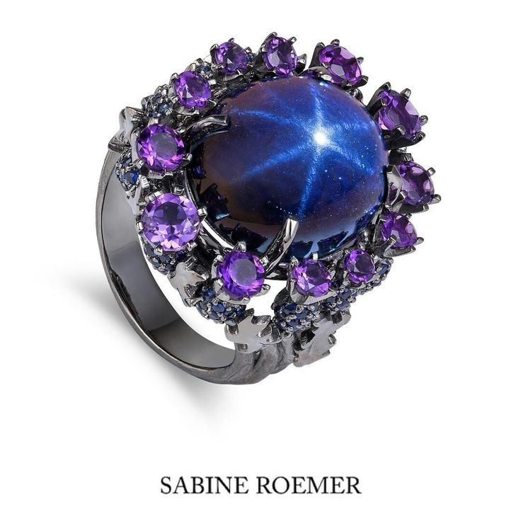 @sabineroemer  One of a kind piece  #thistleRing ... #starsapphire set in blackened rhodium gold , with blue sapphires and purple Amethysts