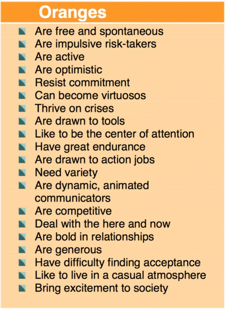True Colors Personality Test - Orange