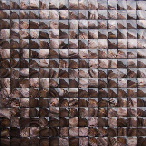 nacre brown 3d pearl shell groutless tile for kitchen backsplash