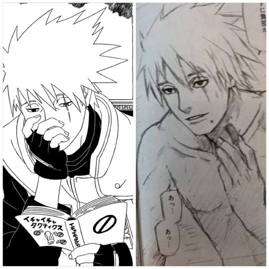 <3 Kakashi Unmasked [right] (from a booklet, 'Rai no Sho', that was available in the Naruto Exhibition in Tokyo, 2015)
