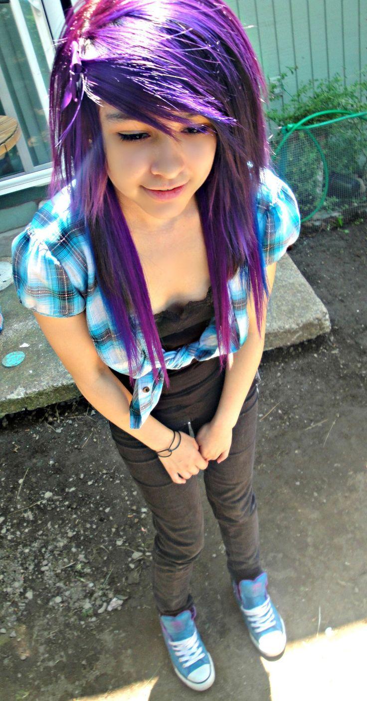 Lila farbfrisur für emo girls emo u gothic lifestyle pinterest