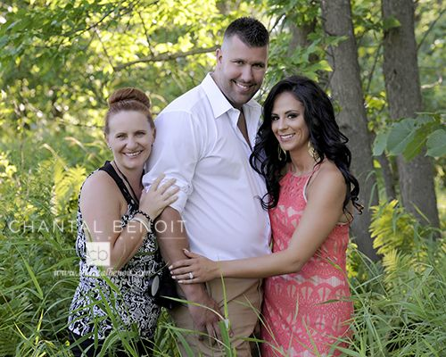 Behind the scene at Amy and Rock's engagement session at Petrie Island