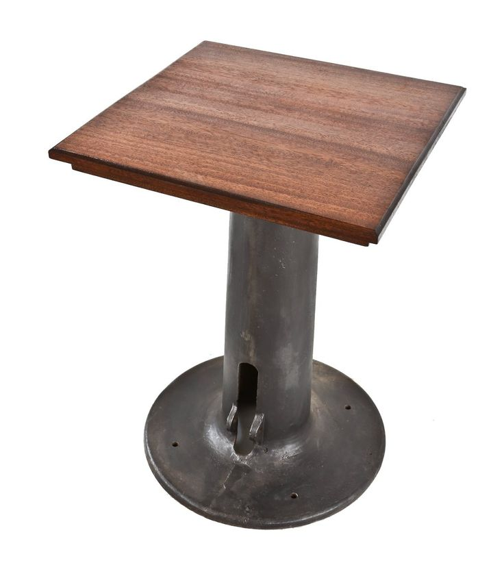 refinished c. 1920's oversized antique american industrial sheet steel punch and/or punch machine pedestal base with newly added mahogany wood tabletop