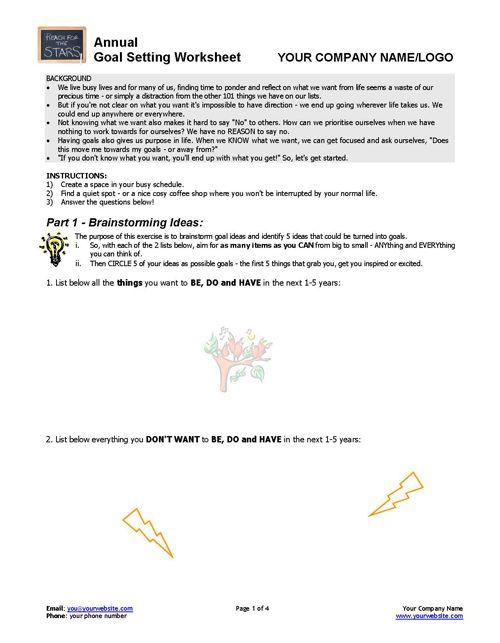week 2 goal settings worksheet Use this goal setting worksheet to help you achieve every single goal  adwords  campaign (five times per week), write two articles per week.
