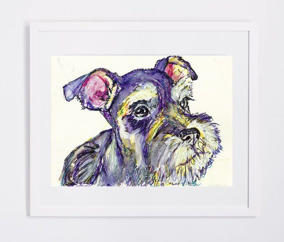 Schnauzer dog Gift, Dog Painting, wall art Print, Watercolor, acrylic miniature schnauzer painting 8x10, 11x14,schnauzer… #dogs #etsy #art