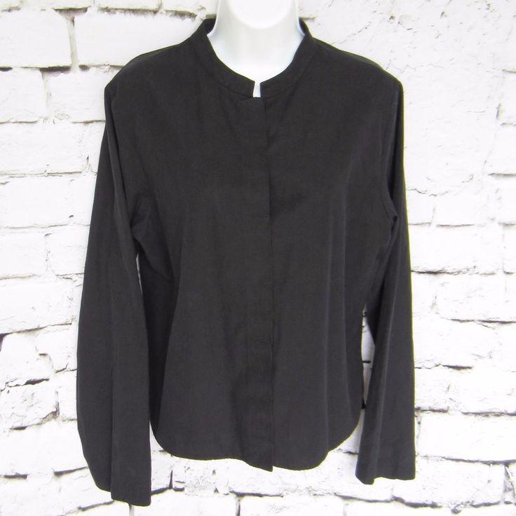 SOLD - Eileen Fisher Silk Blend Mandarin Collar Jacket #up4garbs