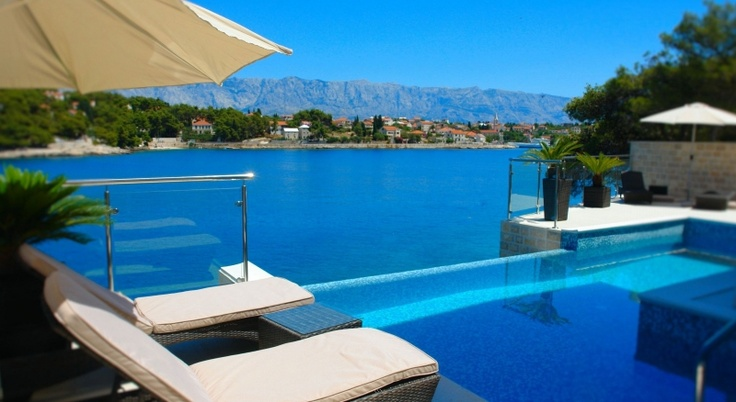 View from the infinity pool at Villa Playa, on the island of Brac in Croatia.
