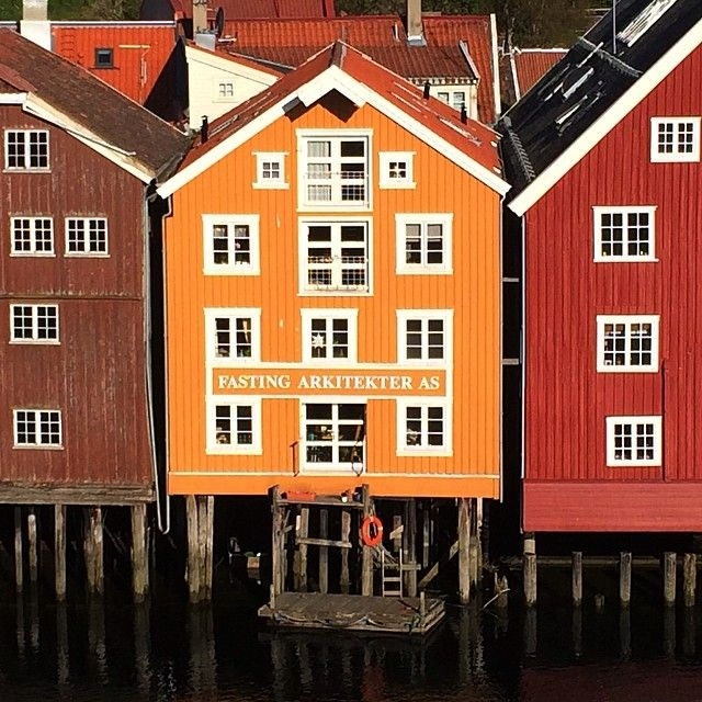 Warehouses by the river Nidelven, Trondheim, Norway