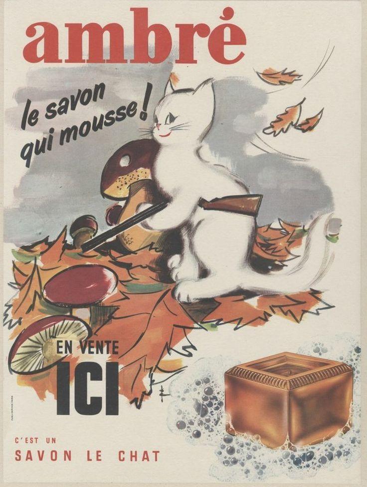 """""""SAVON LE CHAT AMBRE"""" Affiche originale entoilée Litho années 50  32x42cm"""
