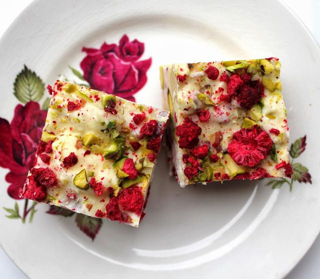 Raspberry and pistachio rocky road...