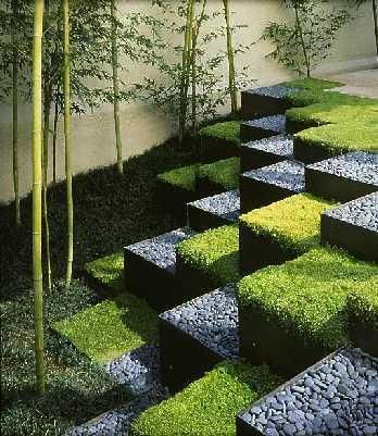 Grass and stone blocks