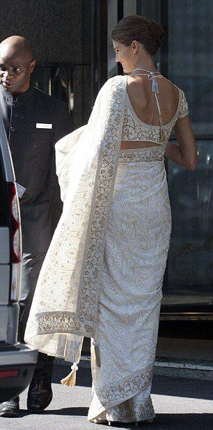 Back view of the wedding saree or sari of Kendra Spears, now Princess Salwa Aga Kahn, following her marriage to Prince Rahim Aga Khan, August 31, 2013.