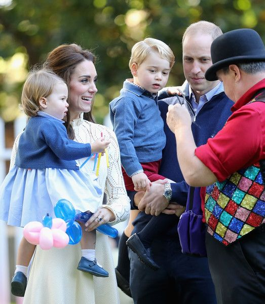 Catherine, Duchess of Cambridge, Princess Charlotte of Cambridge and Prince George of Cambridge, Prince William, Duke of Cambridge at a children's party for Military families during the Royal Tour of Canada on September 29, 2016 in Victoria, Canada. Prince William, Duke of Cambridge, Catherine, Duchess of Cambridge, Prince George and Princess Charlotte are visiting Canada as part of an eight day visit to the country taking in areas such as Bella Bella, Whitehorse and Kelowna