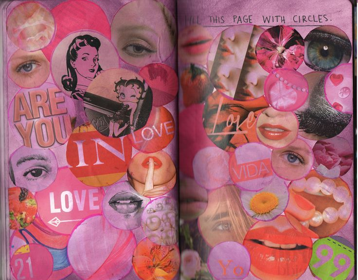 My Wreck this Journal - Fill this Page with Circles - #WTJ #DistressInk #Collage