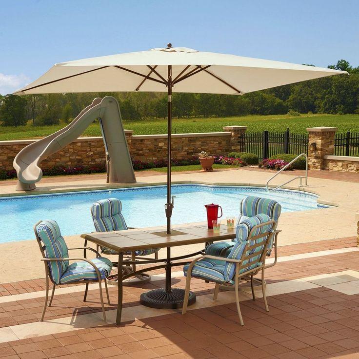 Large Outdoor Umbrella Rectangle Swimming Pool Champagne Aluminum Pole #SwimTime