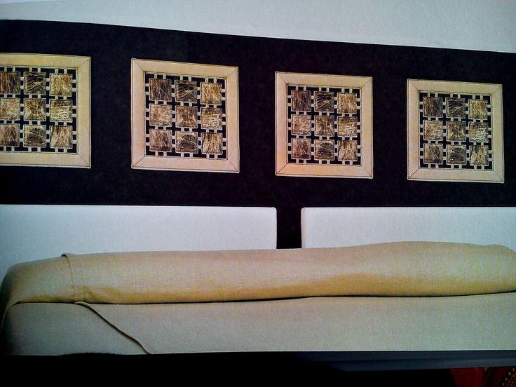 Ręcznie wykonane panele ze skóry do zamontowania na ścianie. Mogą być użyte jako pojedyncze obrazy, okładzina ściany lub element mebla. Wymiary: 40x40 cm. W Showroom In Situ dostępne w wielu kolorach i wzorach!!! Powsińska 20A Warszawa.