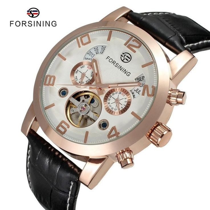 Find More Mechanical Watches Information about 2 Colors FORSINING Brand Luxury Mens Designer Automatic Watch Leather Tourbillon Calendar Men Mechanical Clock Relogio Relojes,High Quality clock light,China clock usb Suppliers, Cheap watch iron from YIKOO Watches Store on Aliexpress.com