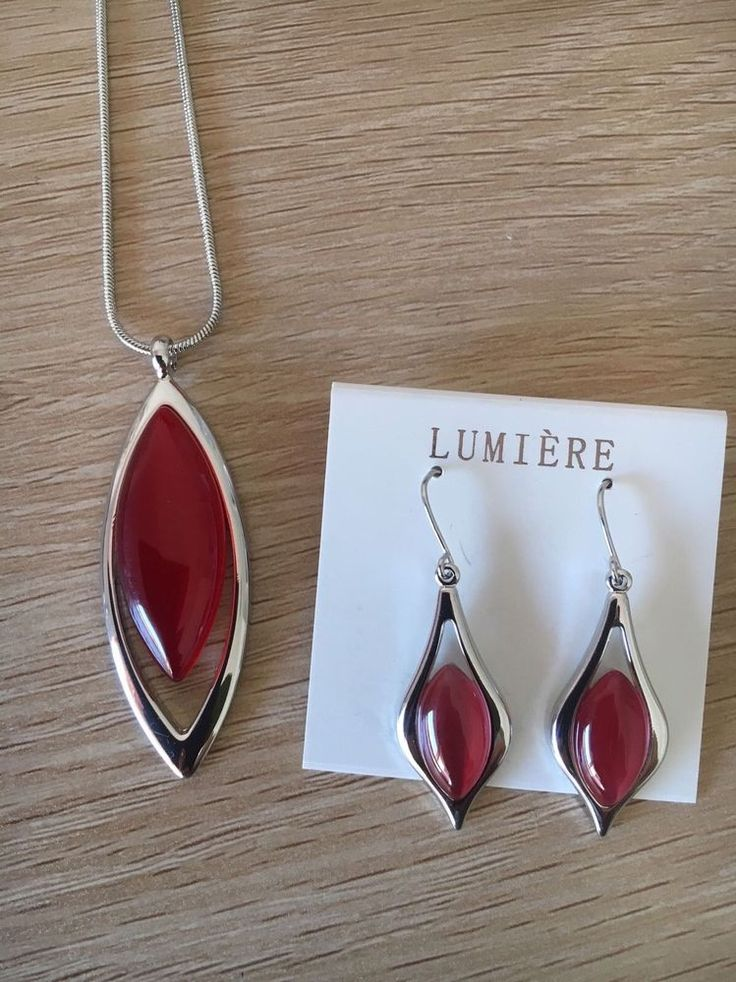 Gorgeous Lumiere Red Bead Nickel Free Necklace And Earrings Set Brand New  | eBay