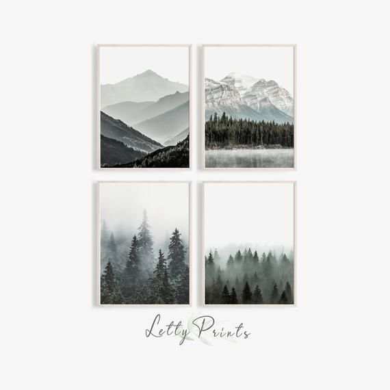 Forest Print Mountain Wall Art Set Of 4 Prints Landscape Print Nature Photography Trees Poster Nature Photography Trees Mountain Wall Art Landscape Prints