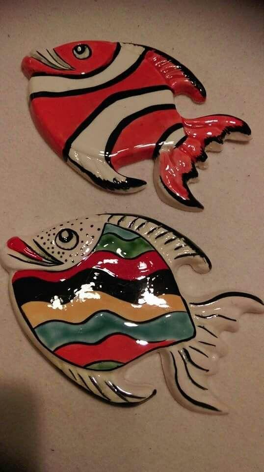 ABruxinhaCoisasGirasdaCarmita: Peixes em cerâmica