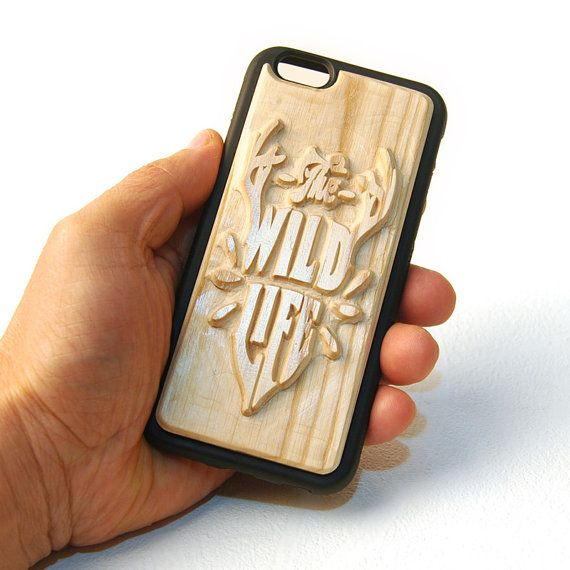 Carved Wood Phone Case  The Wild Life by mozzin on Etsy