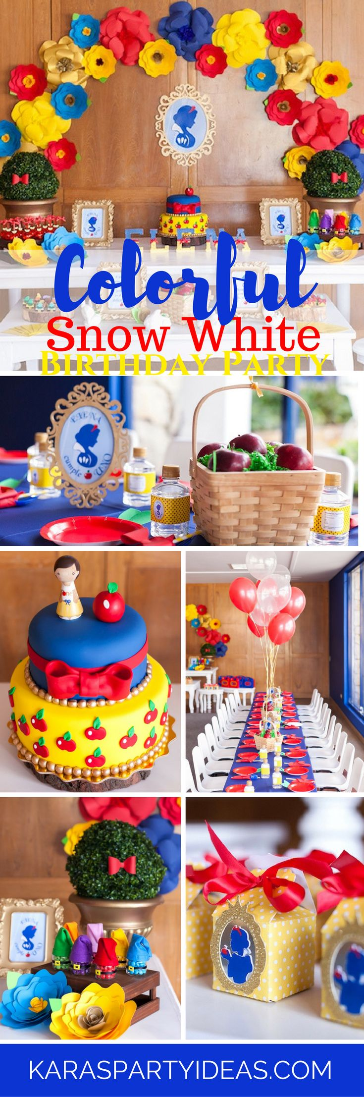 Colorful Snow White Birthday Party via Kara's Party Ideas - KarasPartyIdeas.com