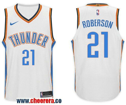 Men s Nike NBA Oklahoma City Thunder  21 Andre Roberson Jersey 2017-18 New  Season White Jersey 728da8543