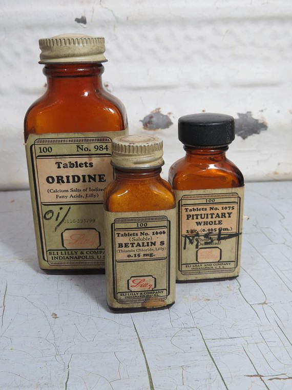 3 Antique Medicine Bottles Eli Libby & Co. Brown Bottles