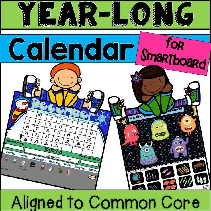 Calendar Math Kindergarten Smartboard : Smartboard calendar fun months plus common core