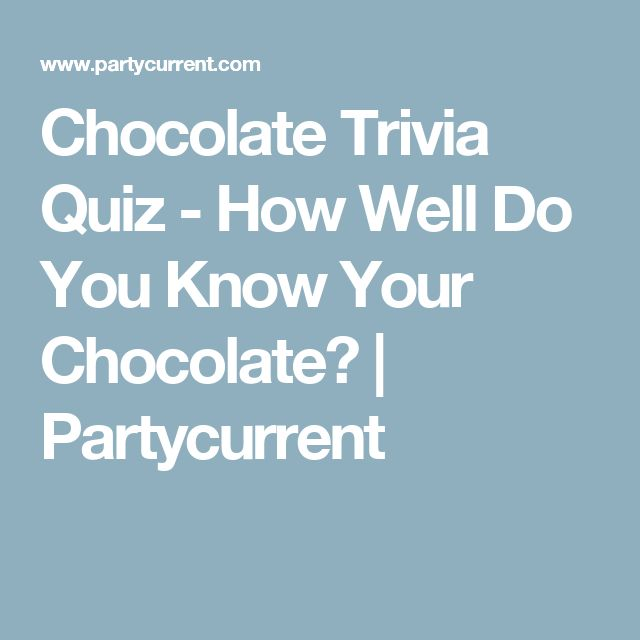 Chocolate Trivia Quiz - How Well Do You Know Your Chocolate? | Partycurrent