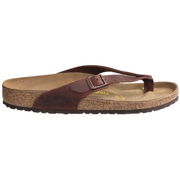 Birkenstock Adria Sandals - Leather, Flip-Flops (For Women) in Henna Oiled Leather