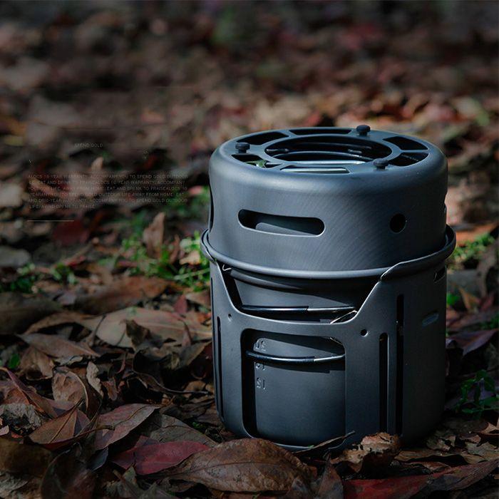 ALOCS 1-2 Person Picnic Stove Pot Set Camping BBQ Tableware Kit Cooker