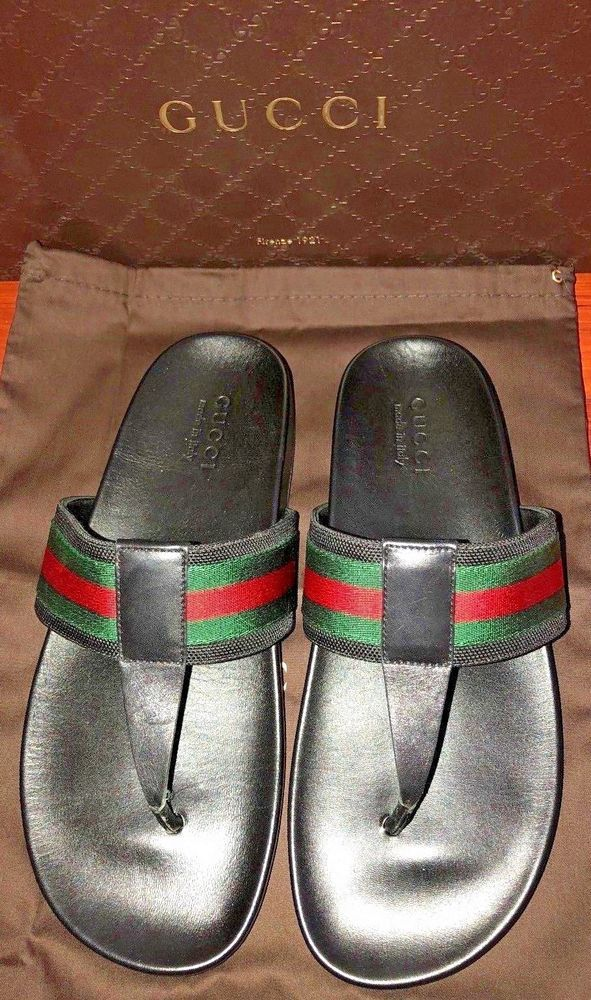 e14f8f93f35f Mens Gucci Black Leather Thong Slippers Flip Flop Sandals Sildes  Gucci   FlipFlops