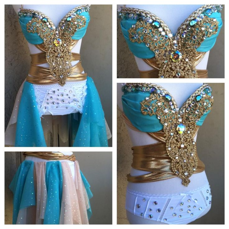 Electric Laundry teal and gold costume