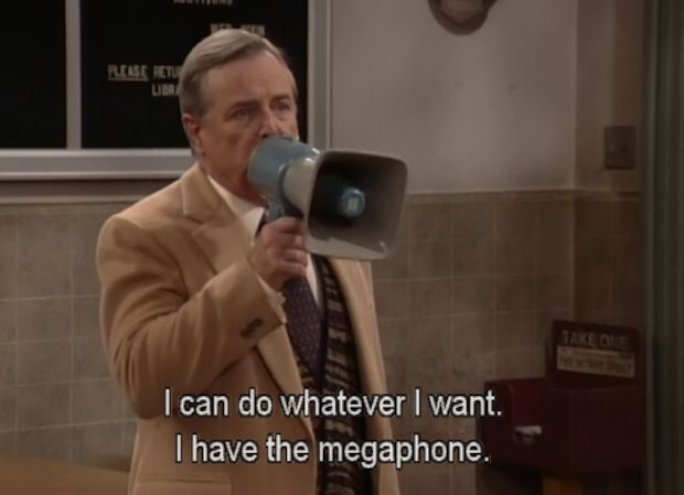 """And finally, a megaphone always makes you important:   The 13 Most Important Life Lessons Learned From Mr. Feeny On """"Boy Meets"""
