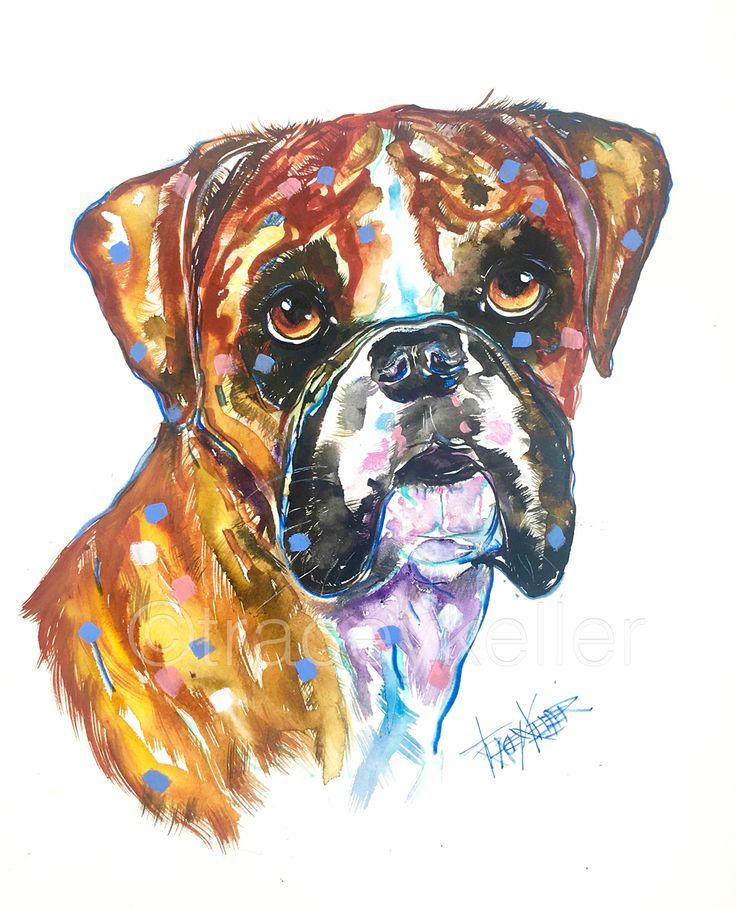 Boxer pet portrait painting