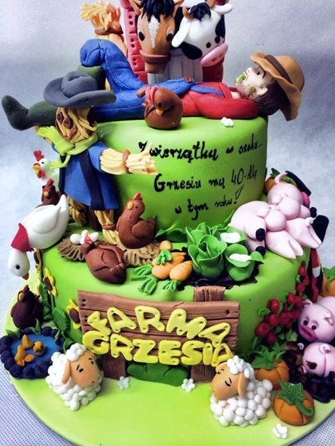 tort farma, farm game cake, pomysł na prezent, tort na prezent